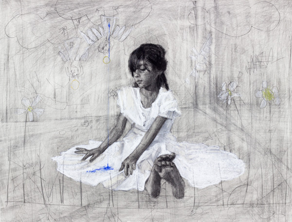 Am image of a contemporary drawing on paper by Greek/German contemporary female artist Angelika Vaxevanidou.