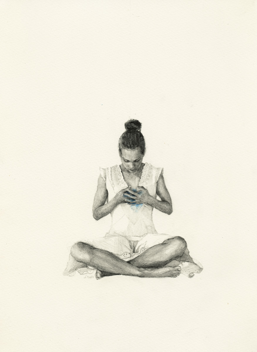 An image of a contemporary drawing on paper by Greek/German contemporary female artist Angelika Vaxevanidou.