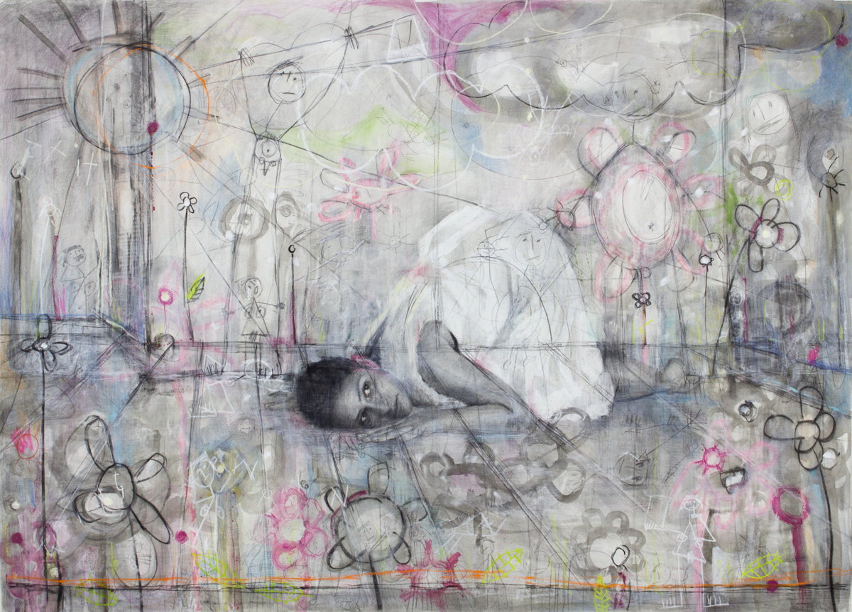 An image of a large scale contemporary drawing on paper by Greek/German contemporary female artist Angelika Vaxevanidou.