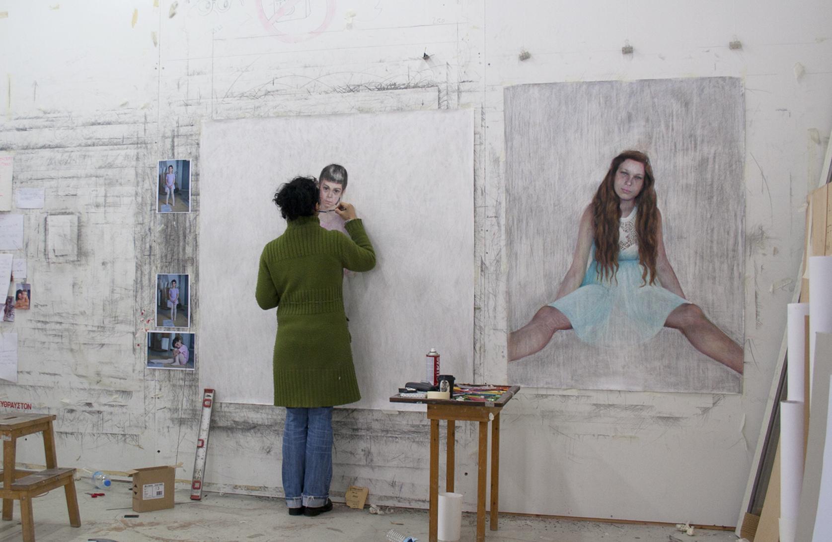 Angelika working in studio 23/03/2015